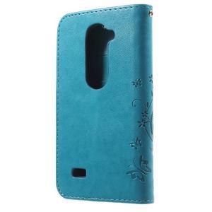 Buttefly PU kožené pouzdro na mobil LG Leon - modré - 2