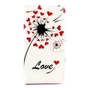 Peňaženkové PU kožené puzdro pre LG Leon - love - 2