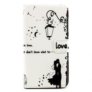 Peňaženkové PU kožené puzdro pre LG Leon - láska pod lampou - 2