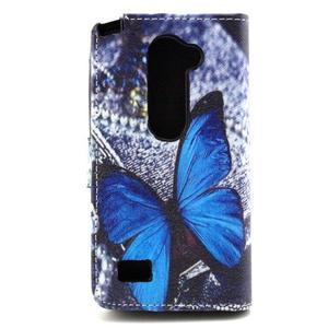Style peňaženkové puzdro pre LG Leon - modrý motýľ - 2