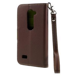 Leaf PU kožené pouzdro na mobil LG Leon - hnědé - 2