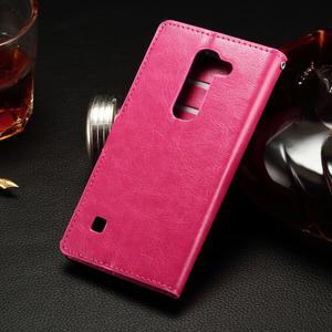 Peňaženkové PU kožené puzdro na LG Spirit - rose - 2