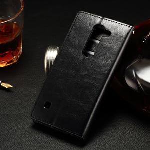 Peňaženkové PU kožené puzdro na LG Spirit - čierne - 2