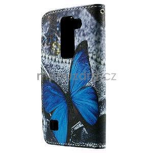Peňaženkové puzdro na LG Spirit - modrý motýľ - 2