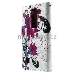 Peňaženkové puzdro na LG Spirit - fialové kvety - 2