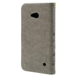 Butterfly PU kožené puzdro pre Microsoft Lumia 640 - sivé - 2