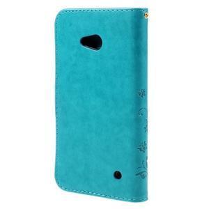 Butterfly PU kožené puzdro pre Microsoft Lumia 640 - modré - 2