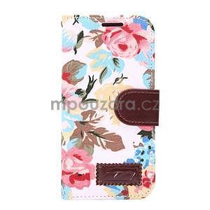 Kvetinové peňaženkové púzdro na HTC One Mini 2 - biele - 2
