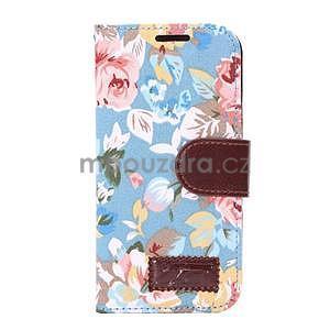 Kvetinové peňaženkové púzdro na HTC One Mini 2 -  modré - 2