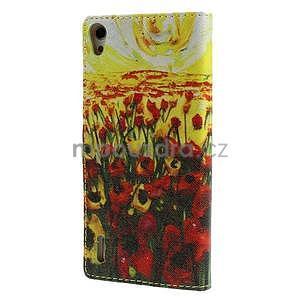 Obrazové peňaženkové puzdro na Huawei Ascend P7 - tulipány - 2