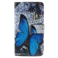 Cross peňaženkové puzdro na Xiaomi Mi4 - modrý motýl - 2/7