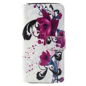 Cross peňaženkové puzdro na Xiaomi Mi4 - fialové květy - 2