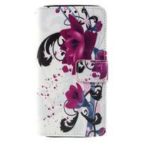 Cross peňaženkové puzdro na Xiaomi Mi4 - fialové květy - 2/7