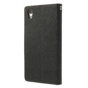 Fancy peněženkové pouzdro na Sony Xperia Z2 - černé/hnědé - 2