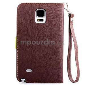Peňaženkové puzdro s pútkom na Samsung Galaxy Note 4 - hnedé - 2