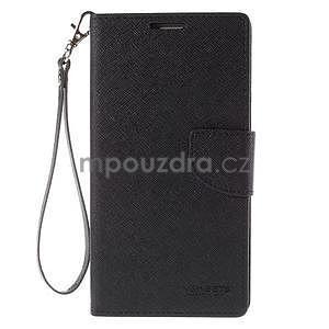 Stylové peňaženkové puzdro na Samsnug Galaxy Note 4 - čierne - 2