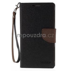 Stylové peňaženkové puzdro na Samsnug Galaxy Note 4 - čierne/hnedé - 2