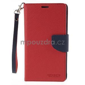Štýlové peňaženkové puzdro pre Samsnug Galaxy Note 4 - červené - 2