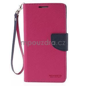 Stylové peňaženkové puzdro na Samsnug Galaxy Note 4 -  rose - 2