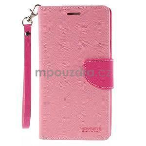 Stylové peňaženkové puzdro na Samsnug Galaxy Note 4 -  ružové - 2