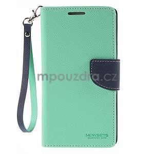 Stylové peňaženkové puzdro na Samsnug Galaxy Note 4 -  azurové - 2