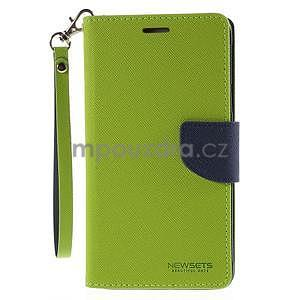 Štýlové peňaženkové puzdro pre Samsnug Galaxy Note 4 -  zelené - 2