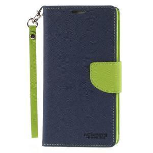 Stylové peňaženkové puzdro na Samsnug Galaxy Note 4 -  tmavomodre - 2