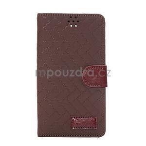 Elegantné peňaženkové puzdro na Samsung Galaxy Note 4 - hnedé - 2