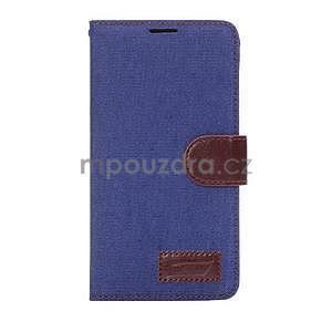 Jeans peňaženkové puzdro pre Samsung Galaxy Note 4 - modré - 2