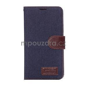 Jeans peňaženkové puzdro pre Samsung Galaxy Note 4 - tmavě modré - 2