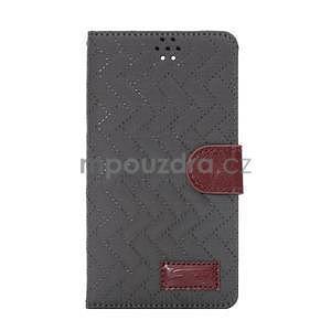 Elegantné peňaženkové puzdro na Samsung Galaxy Note 4 - šedé - 2