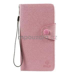 Zapínací peneženkové poudzro Samsung Galaxy Note 4 - ružové - 2