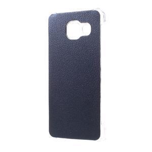 Plastový obal s koženkovým plátem na Samsung Galaxy A3 (2016) - tmavěmodrý - 2
