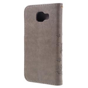 Buttefly PU kožené puzdro pre Samsung Galaxy A3 (2016) - šedé - 2