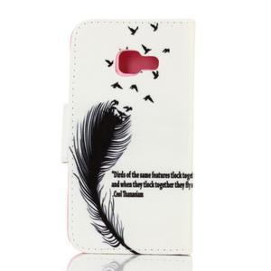 Rich PU kožené puzdro pre mobil Samsung Galaxy A3 (2016) - vtáčie pierko - 2