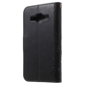 Butterfly PU kožené puzdro pre Samsung Galaxy Core Prime - čierne - 2