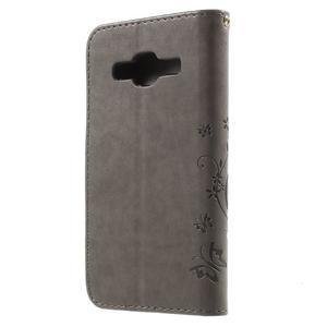 Butterfly PU kožené puzdro pre Samsung Galaxy Core Prime - šedé - 2