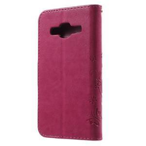 Butterfly PU kožené puzdro pre Samsung Galaxy Core Prime - rose - 2