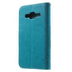 Butterfly PU kožené puzdro pre Samsung Galaxy Core Prime - modré - 2