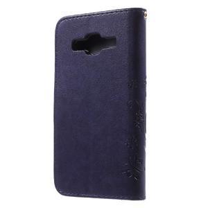 Butterfly PU kožené pouzdro na Samsung Galaxy Core Prime - fialové - 2