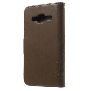 Butterfly PU kožené puzdro pre Samsung Galaxy Core Prime - hnedé - 2