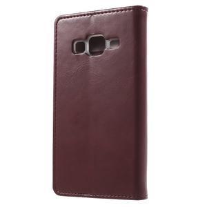 Moon PU kožené puzdro pre mobil Samsung Galaxy Core Prime - vínové - 2