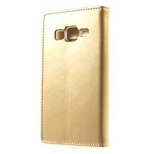 Moon PU kožené puzdro pre mobil Samsung Galaxy Core Prime - zlaté - 2