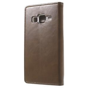 Moon PU kožené pouzdro na mobil Samsung Galaxy Core Prime - hnědé - 2