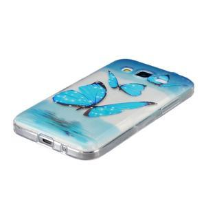 Transparentný gélový obal pre Samsung Galaxy Core Prime - modré motýle - 2