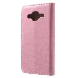 Horse PU kožené puzdro pre mobil Samsung Galaxy Core Prime - ružové - 2