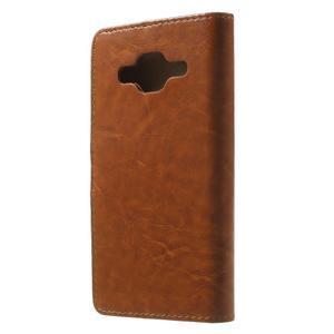 Horse PU kožené puzdro pre mobil Samsung Galaxy Core Prime - hnedé - 2