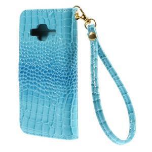 Croco peňaženkové puzdro pre Samsung Galaxy Core Prime - modré - 2