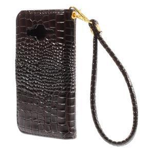 Croco peňaženkové puzdro pre Samsung Galaxy Core Prime - coffee - 2