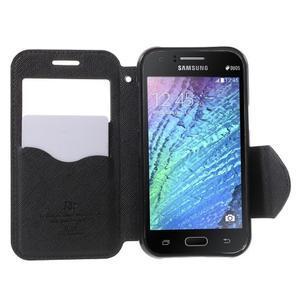Kožené puzdro s okýnkem Samsung Galaxy J1 - čierné - 2